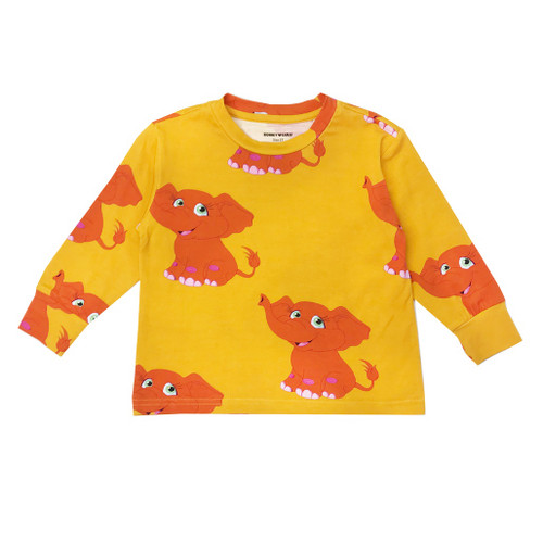 Long Sleeve T Shirt - Elephants-Yellow