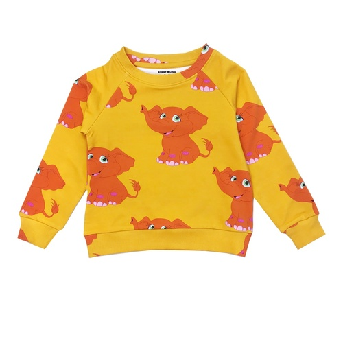 Sweatshirt - Elephants-Yellow