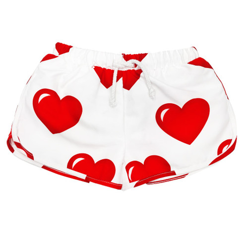 Swim Trunks - Hearts-White