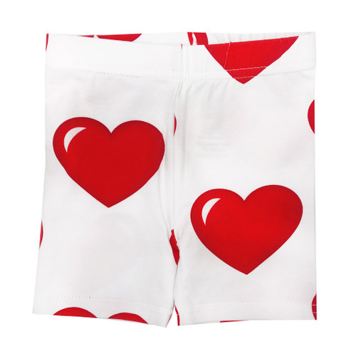 Biker Short - Hearts-White