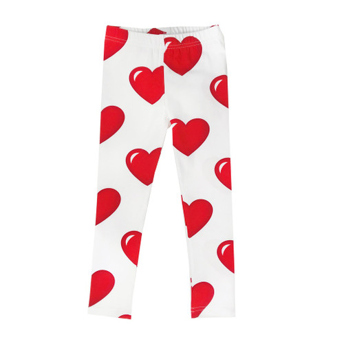 Leggings - Hearts-White