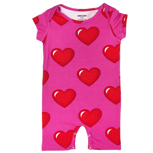 Short Romper - Hearts-Pink