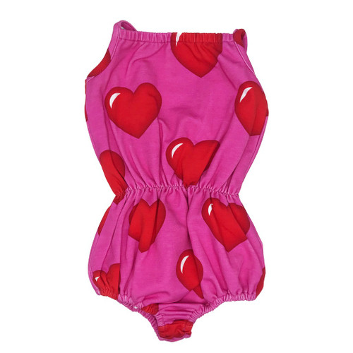 Bubble Romper - Hearts-Pink