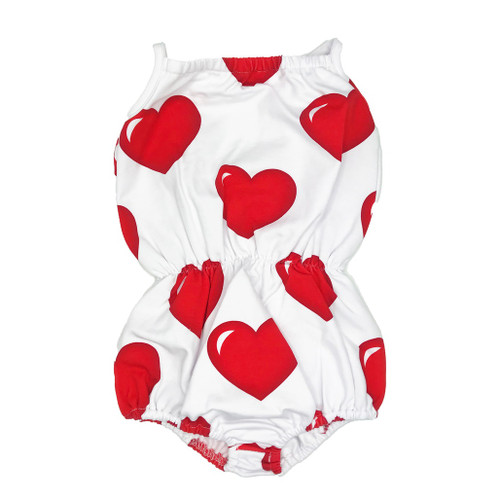 Bubble Romper - Hearts-White