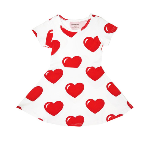 Skater Dress - Hearts-White
