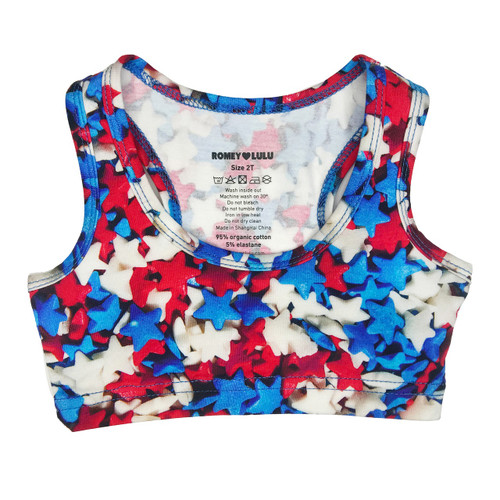 Sports Top - Red White Blue Star Sprinkles