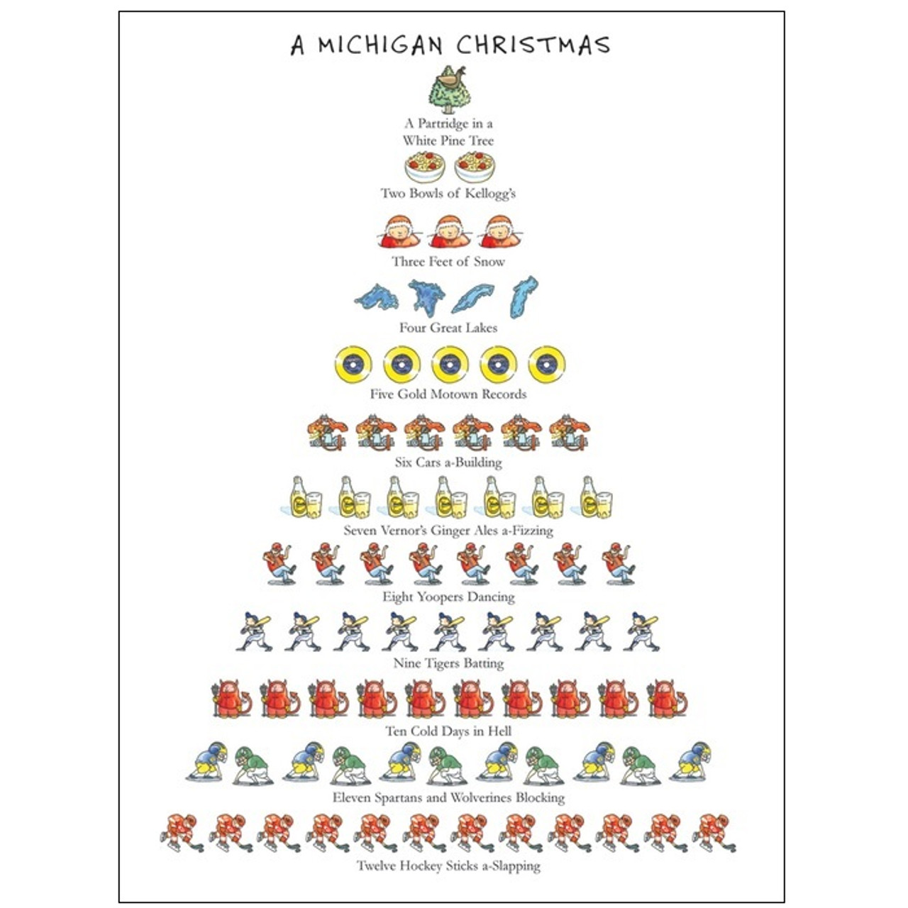 Twelve Days of a Michigan Christmas Holiday Cards