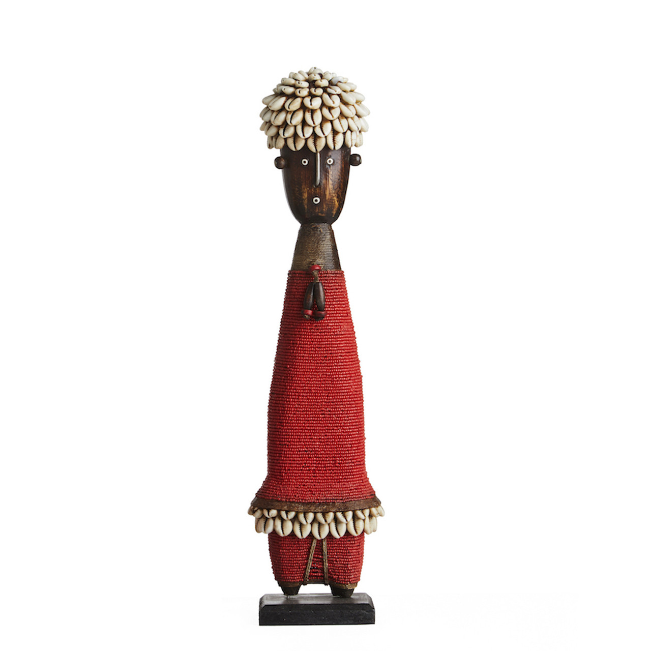 Domji Beaded Shell Sculpture Red