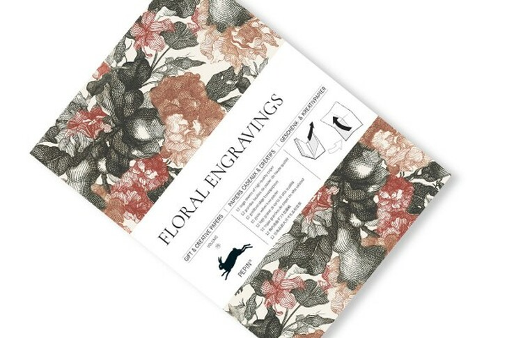 Floral Engravings Gift Wrap Book