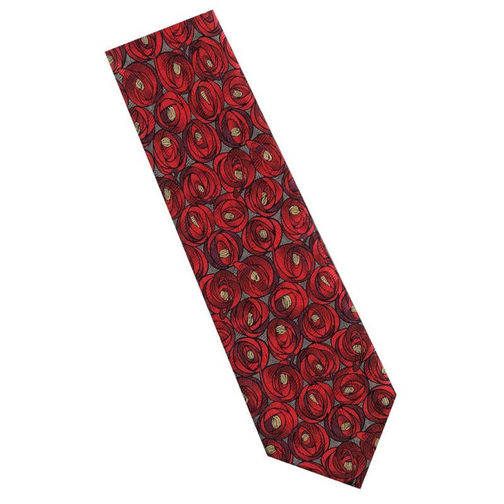 Mackintosh Roses Silk Tie- Red/Charcoal