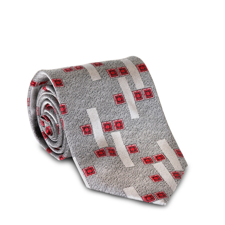 Frank Lloyd Wright Silver Zimmerman Windows Silk Tie