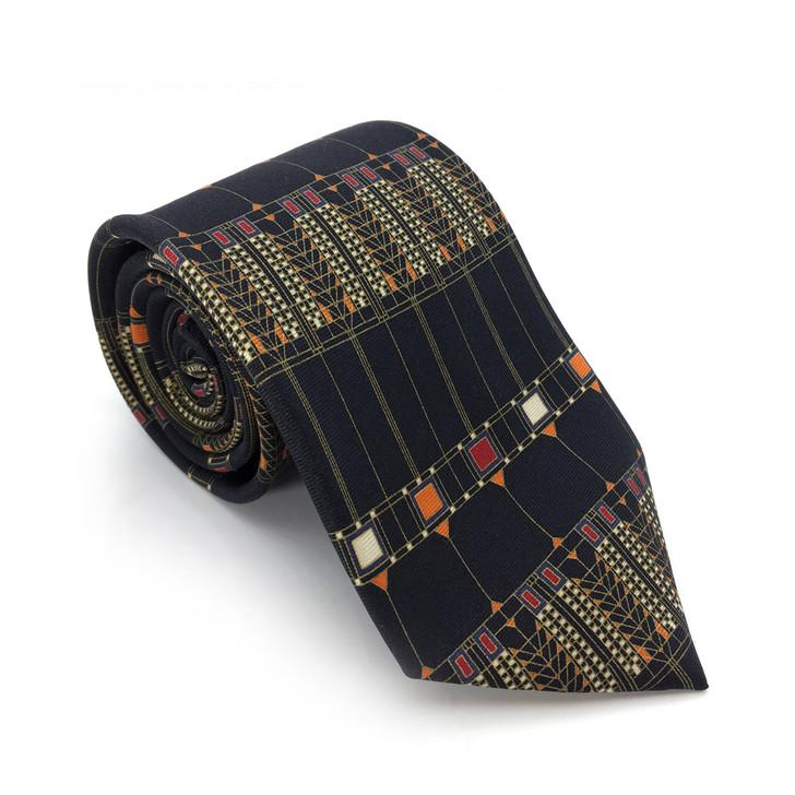 Frank Lloyd Wright Black Tree of Life Silk Tie