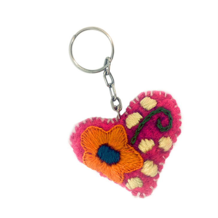 Wool Heart Keyring