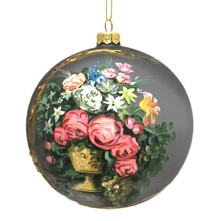 Renoir Grey Flowers Ornament