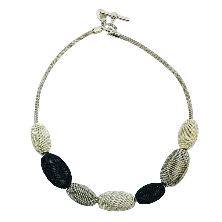 Mesh Necklace with Oval Beads