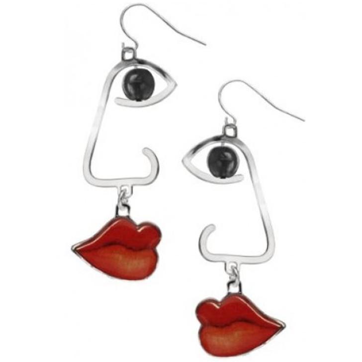Cubist Profile Black Earrings