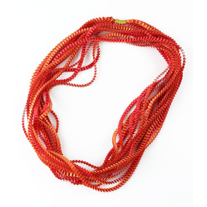 Red-Orange Ribbon Necklace