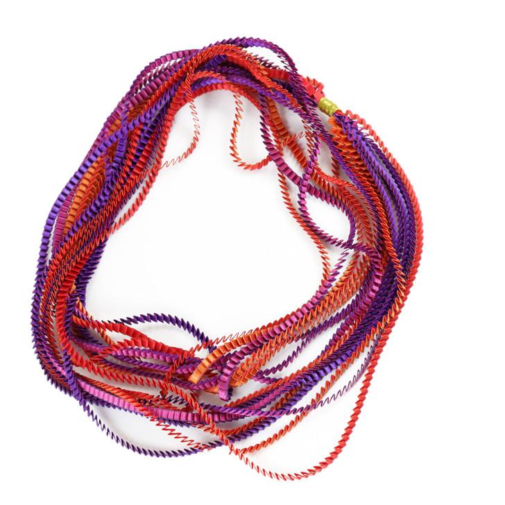 Red-Orange-Purple-Fuchsia Ribbon Necklace