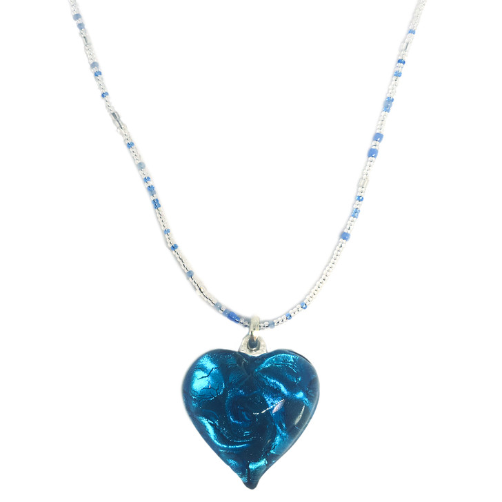 Heart Pendant on Beaded Necklace, Asstorted Colors