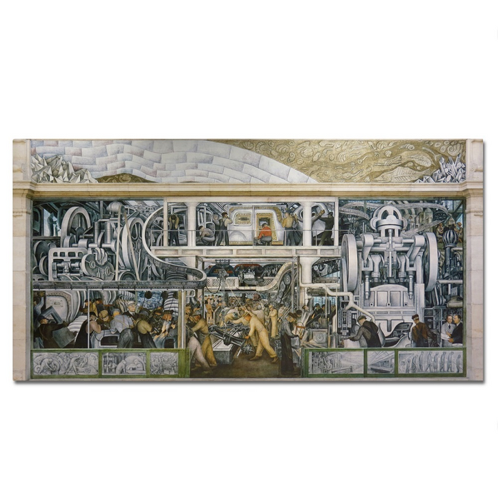 """Detroit Industry South Wall, Rivera Stretched Canvas 36"""""""