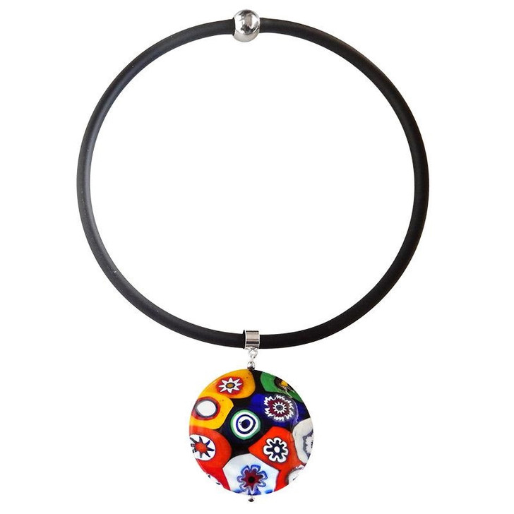 XL Black Millefiori Glass Necklace