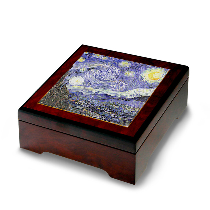 Starry Night, Van Gogh Wooden Musical Jewelry Box