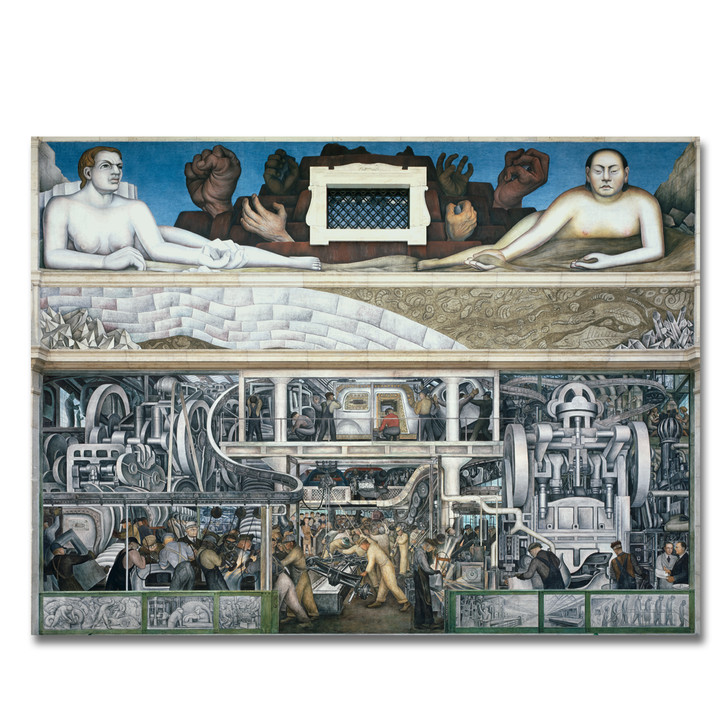 Detroit Industry South Wall, Rivera Stretched Canvas (60x43)