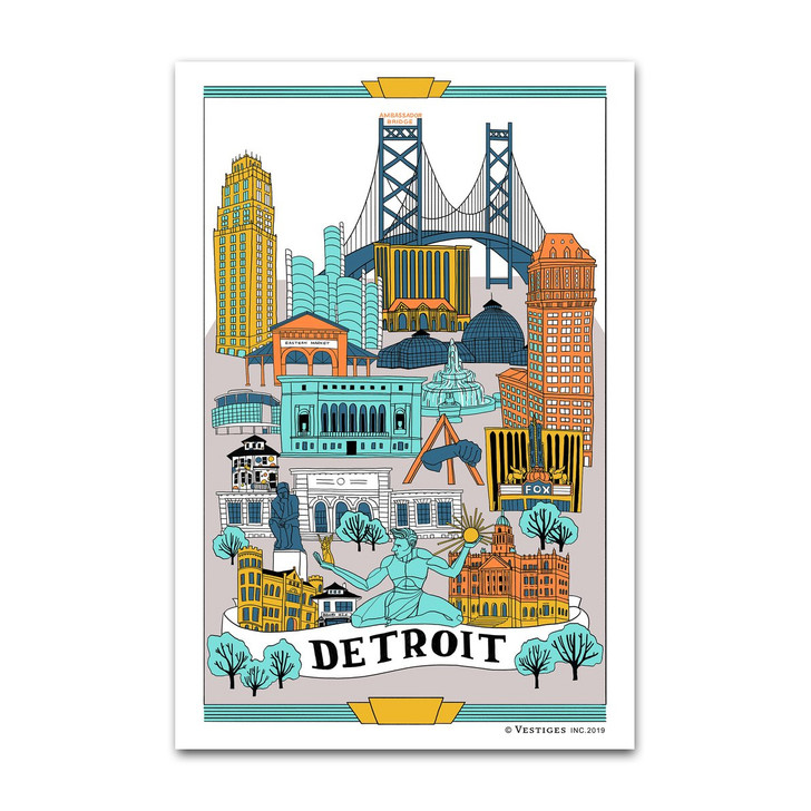 Detroit Collage Tea Towel