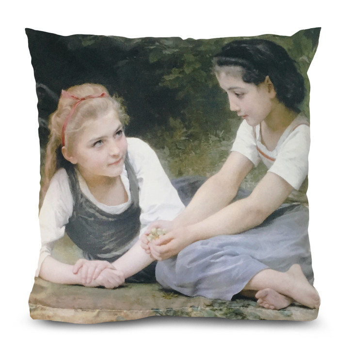 The Nut Gatherers, Bouguereau Square Pillow
