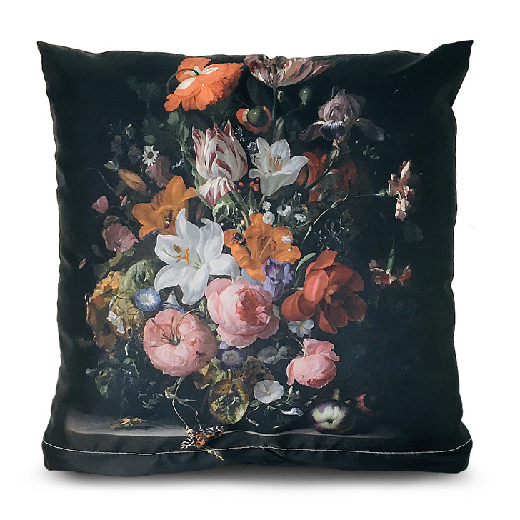 Flowers in a Glass Vase, Ruysch Square Pillow