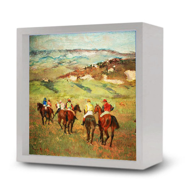Jockeys on Horseback before Distant Hills, Degas Light Box