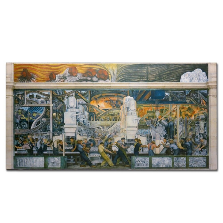 Detroit Industry, North Wall, Rivera 60 x 30 Canvas