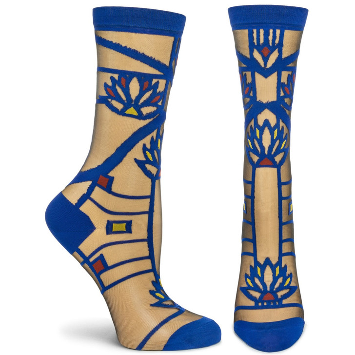 Frank Lloyd Wright Navy Waterlilies Sheer Sock