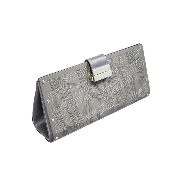Capellini Clutch, Silver & Leaf