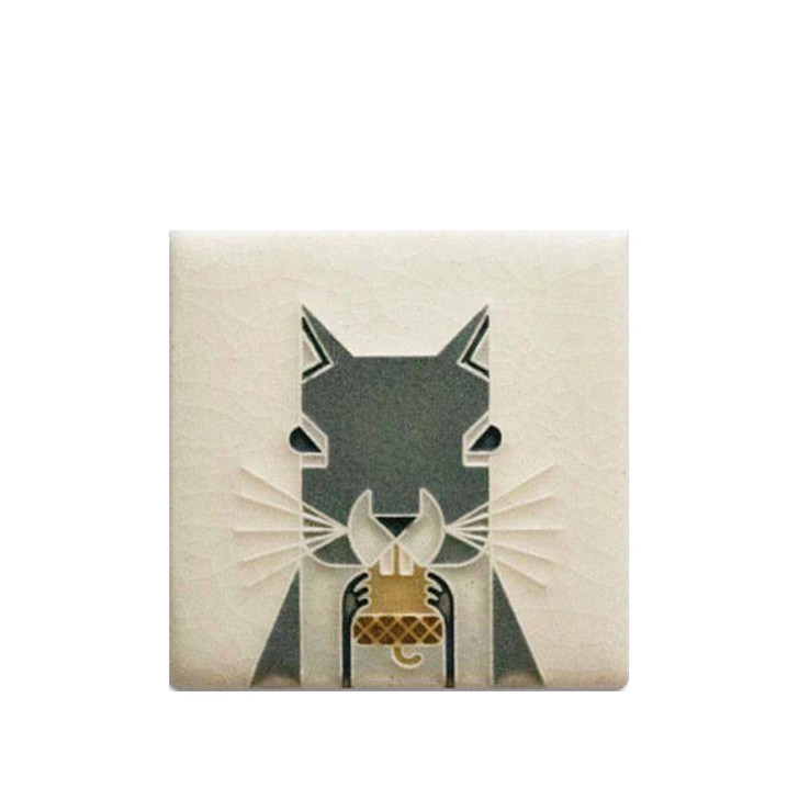 Motawi Tileworks Charley Harper Squirrel 3x3