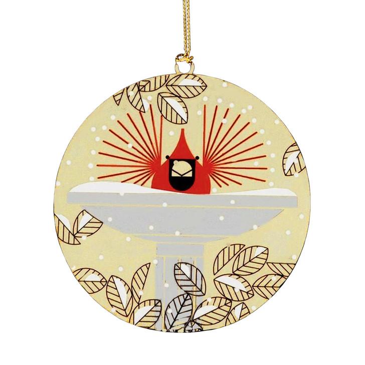 Charley Harper Brrrrrdbath Brass Ornament