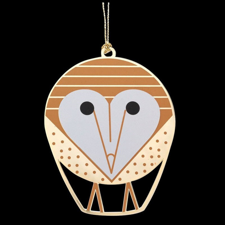Charley Harper Barn Owl Brass Ornament