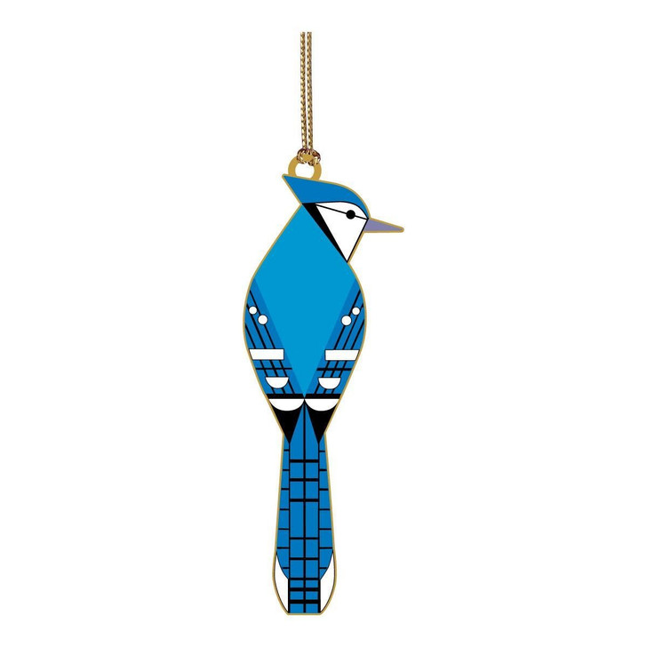 Charley Harper Blue Jay Brass Ornament