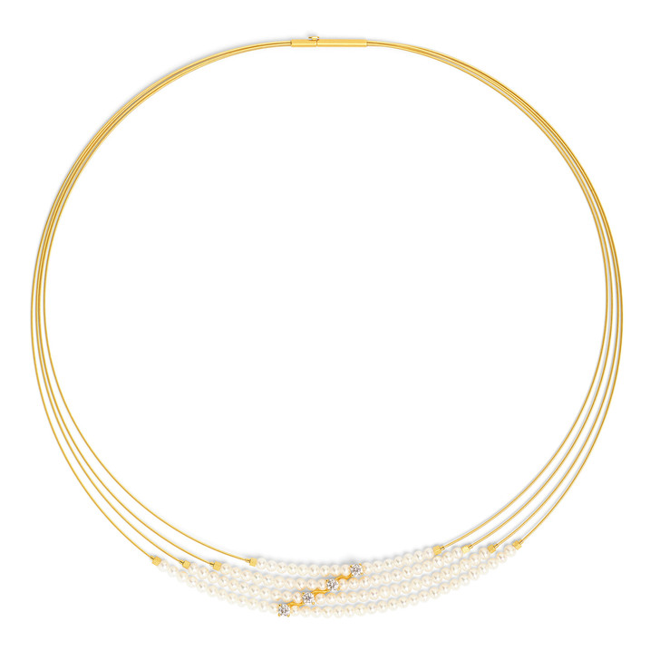 Scale Pearl and Zirconia Necklace