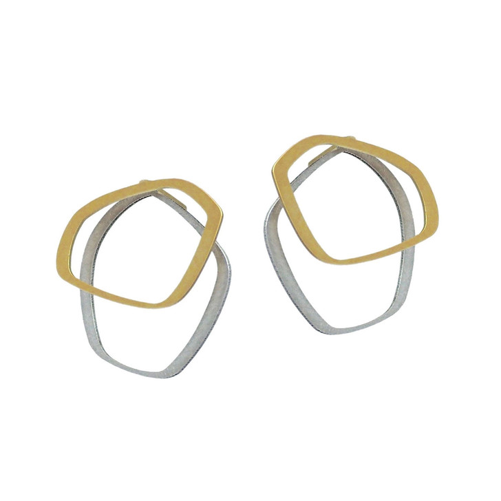 Gold/Raw Stainless Steel Stud Earring Small