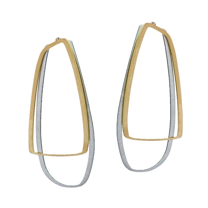 X2 Loop Gold/Stainless Steel Stud Earrings Large