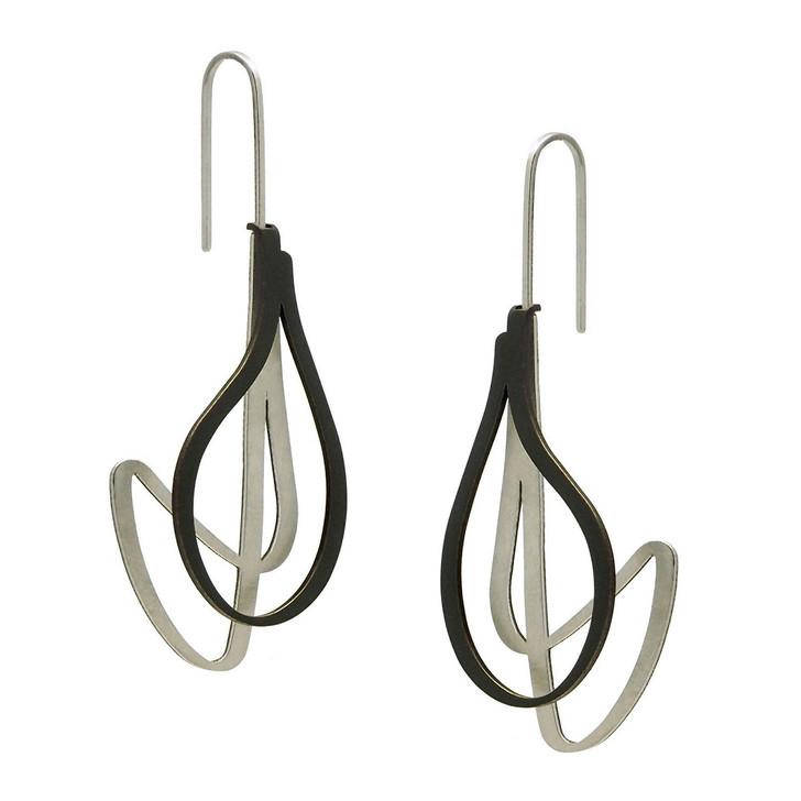 Raw/Black Twist Stainless Steel Earrings