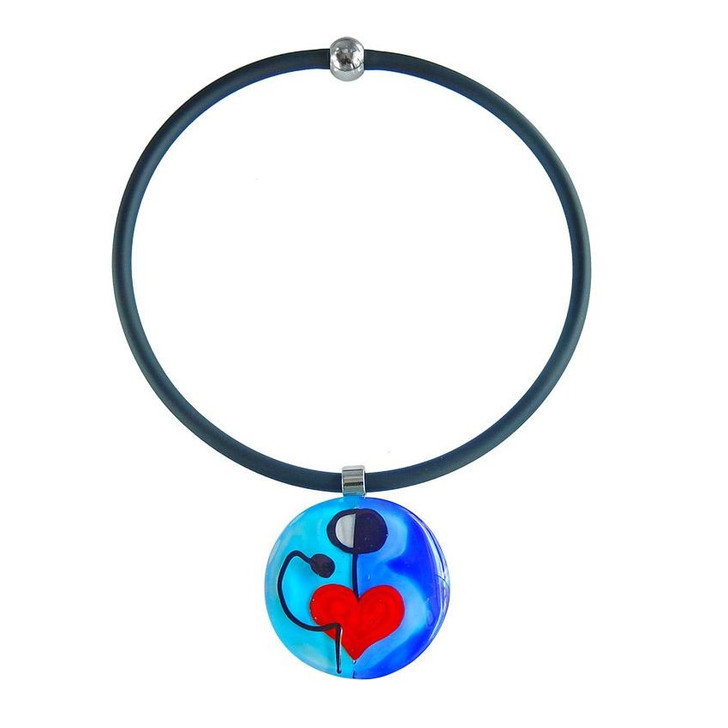 """Abstract """"K"""" Glass Necklace"""