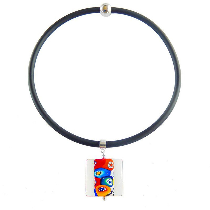 Square Millefiori Glass Necklace