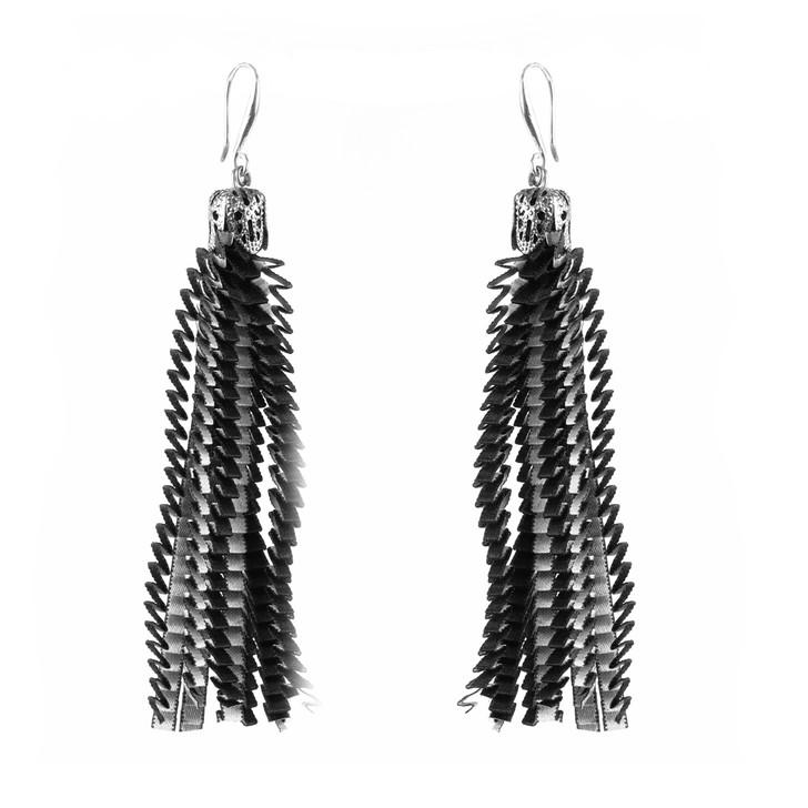 Silver Black Ribbon Earrings