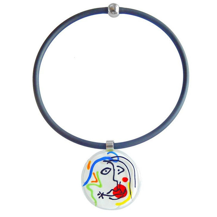 Miro Sketch #8 Glass Necklace