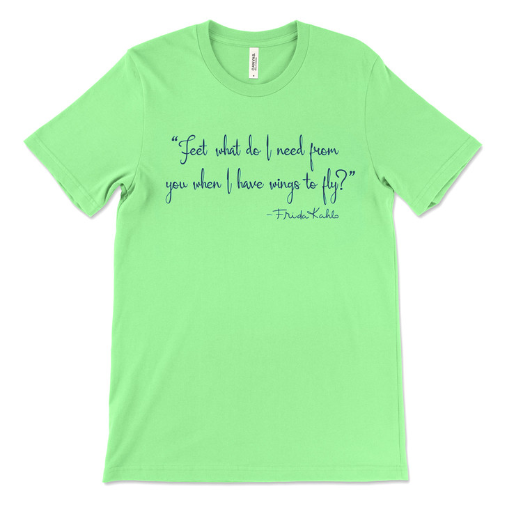 Wings Quote Frida Kahlo T-Shirt