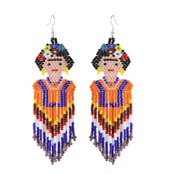 Hand-Beaded Frida Earrings Large