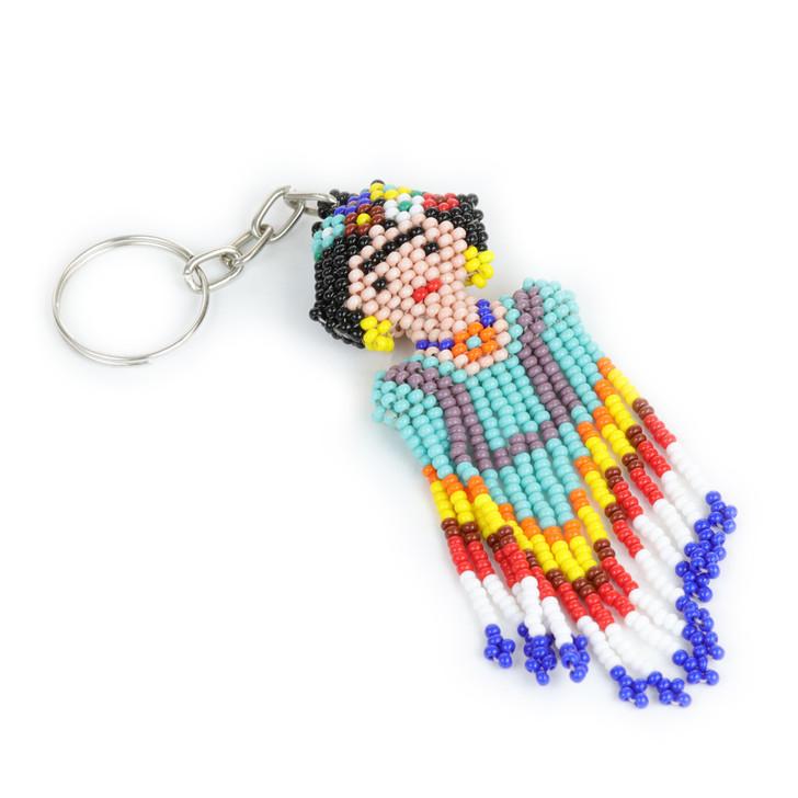 Hand-Beaded Frida Keychain
