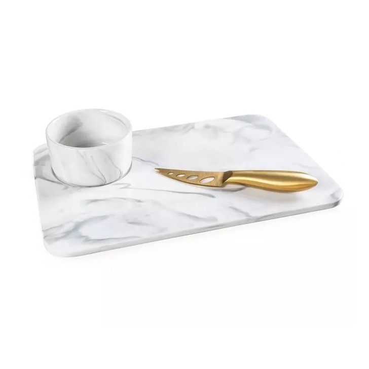 Marble Cheese Board w/Dip Bowl & Knife